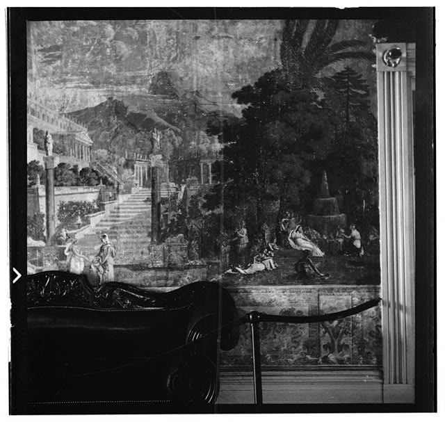 12.  Historic American Buildings Survey, W. Jeter Eason- Deputy District Officer, Photographer November 12, 1936 WALL PAINTINGS ON WEST WALL OF ENTRANCE HALL- SECTION BETWEEN DOOR TO FRONT PARLOR AND DOOR TO BACK PARLOR. - The Hermitage, U.S. Highway 70 North (4580 Rachel's Lane), Nashville, Davidson County, TN