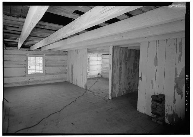 16.  Interior view of the west cabin looking from the southeast corner to the northwest corner and showing the partition of the space into three rooms - The Hermitage, West Cabin, 4580 Rachel's Lane, Hermitage, Davidson County, TN