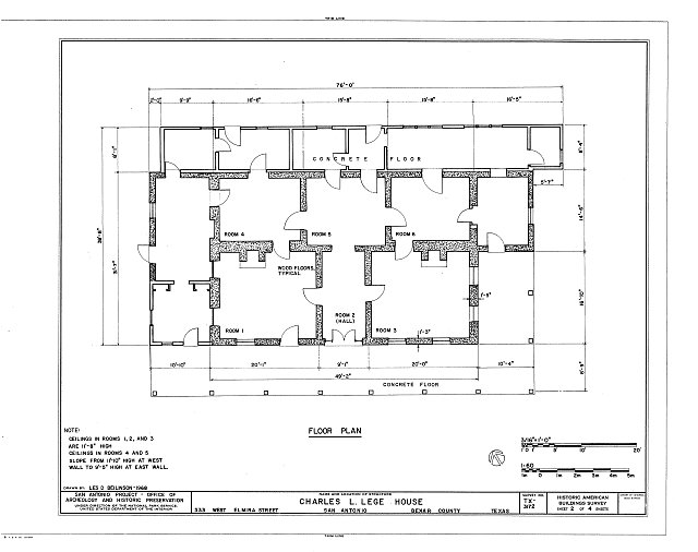 HABS TEX,15-SANT,40- (sheet 2 of 4) - Charles L. Lege House, 533 West Elmira Street, San Antonio, Bexar County, TX