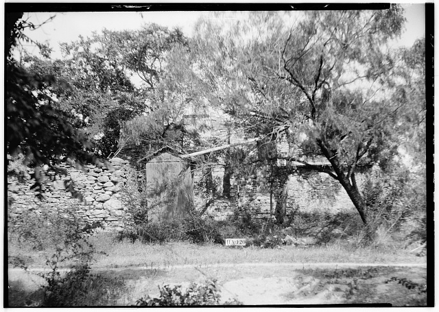 6.  Historic American Buildings Survey, Arthur W. Stewart, Photographer, April 23, 1936 WEST ELEVATION OF CHAPEL (REAR). - Mission San Francisco de la Espada, Berg's Mill Community, San Antonio, Bexar County, TX