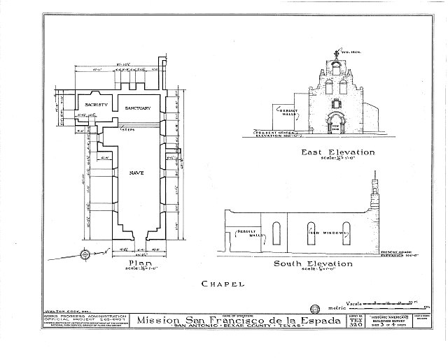 HABS TEX,15-SANT.V,2- (sheet 3 of 4) - Mission San Francisco de la Espada, Berg's Mill Community, San Antonio, Bexar County, TX