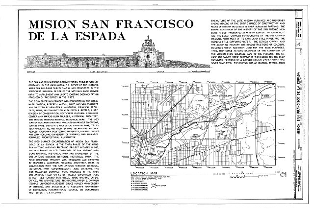 HABS TEX,15-SANT.V,2- (sheet 1 of 13) - Mission San Francisco de la Espada, Berg's Mill Community, San Antonio, Bexar County, TX