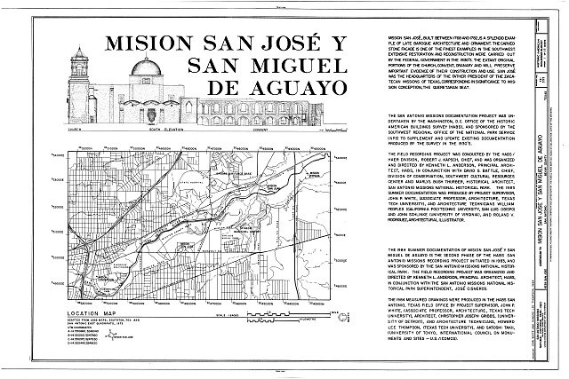 HABS TEX,15-SANT.V,5- (sheet 1 of 18) - Mission San Jose y San Miguel de Aguayo, Mission Road, San Antonio, Bexar County, TX
