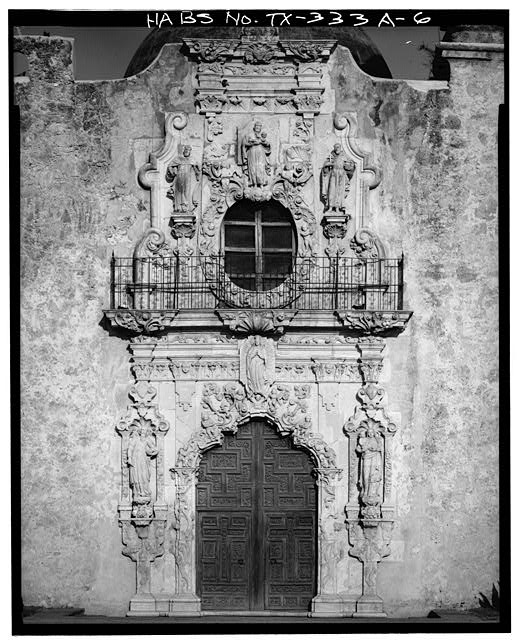 6.  FRONT ENTRANCE FRONTISPIECE - Mission San Jose y San Miguel de Aguayo, Church, 6539 San Jose Road, San Antonio, Bexar County, TX