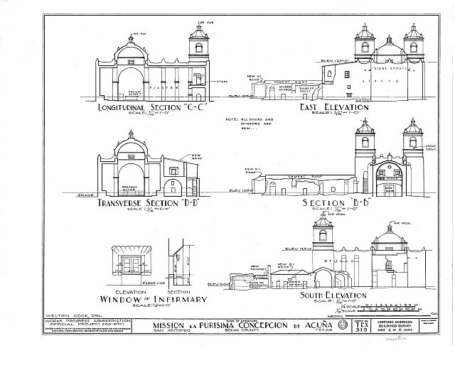 HABS TEX,15-SANT.V,1- (sheet 4 of 5) - Mission Nuestra Senora de La Purisima Concepcion, 807 Mission Road, San Antonio, Bexar County, TX