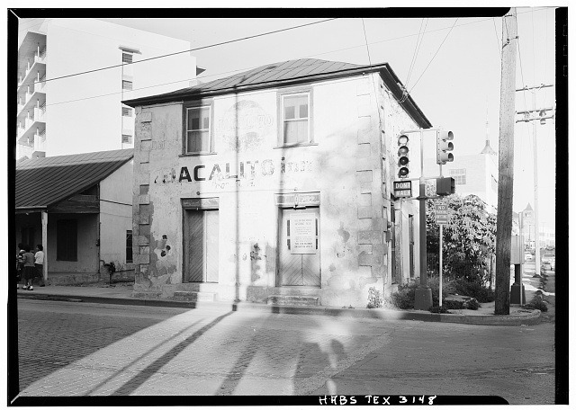 3.  Historic American Buildings Survey, October, 1961 WEST ELEVATION OF STORE (HOUSE ON LEFT). - Jose Antonio Navarro Store, 232 South Laredo Street, San Antonio, Bexar County, TX