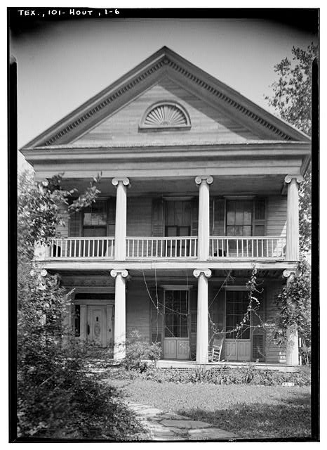 6.  Historic American Buildings Survey, Harry L. Starnes, Photographer April 10, 1936 FRONT SOUTH ELEVATION. - Nichols-Rice-Cherry House, Sam Houston Park (moved from San Jacinto Street), Houston, Harris County, TX
