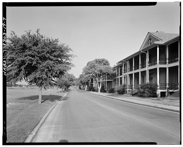 7.  LOOKING EAST DOWN STANLEY ROAD, BUILDING #143 TO RIGHT - Fort Sam Houston, Streetscape, San Antonio, Bexar County, TX