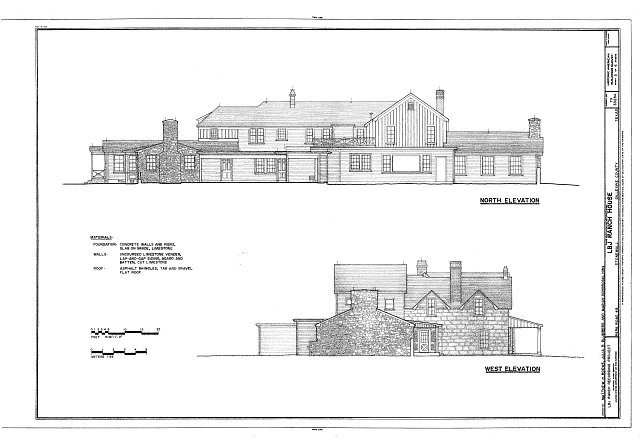 North and west elevations - Lyndon B. Johnson Ranch, House, Park Road 49, Stonewall, Gillespie County, TX