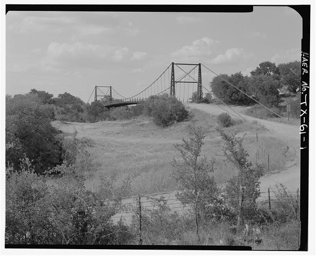 OVERVIEW FROM S. - Regency Suspension Bridge, Spanning Colorado River at County Route 126, Goldthwaite, Mills County, TX