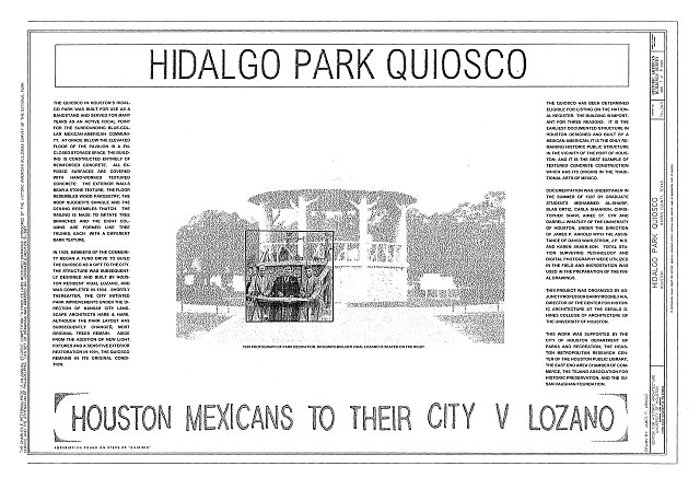 HABS TEX,101-HOUT,10- (sheet 1 of 9) - Hidalgo Park Quiosco, Houston, Harris County, TX