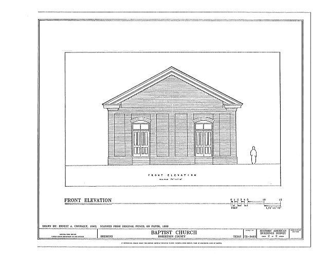 HABS TEX,198-BREM,1- (sheet 2 of 2) - Baptist Church, Bremond, Robertson County, TX