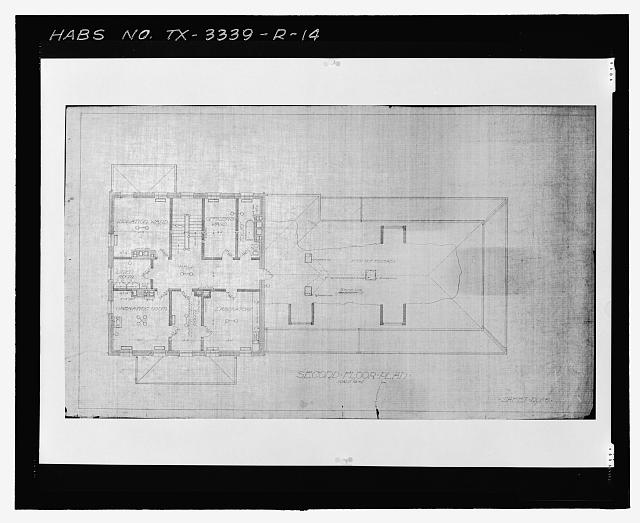 Photographic copy of Sheet No. 6 (undated): SECOND FLOOR PLAN - Fort Bliss, Post Hospital, Pershing Road, El Paso, El Paso County, TX