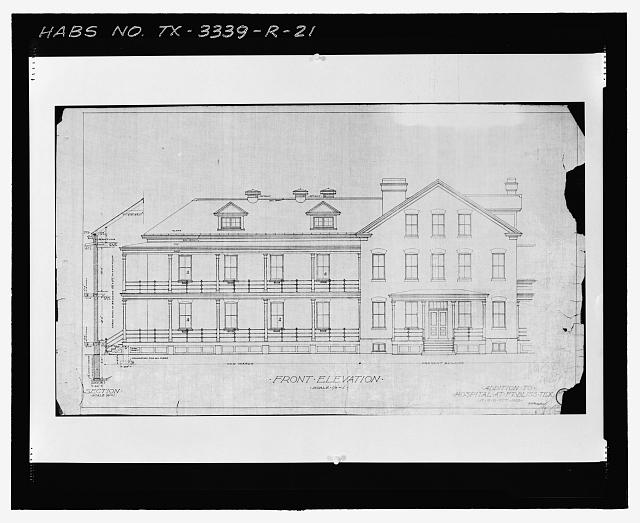 Photographic copy of Sheet No. 2 (1912): FRONT ELEVATION - Fort Bliss, Post Hospital, Pershing Road, El Paso, El Paso County, TX
