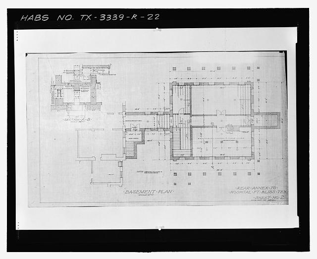 Photographic copy of Sheet No. 2 (1915): BASEMENT PLAN - Fort Bliss, Post Hospital, Pershing Road, El Paso, El Paso County, TX