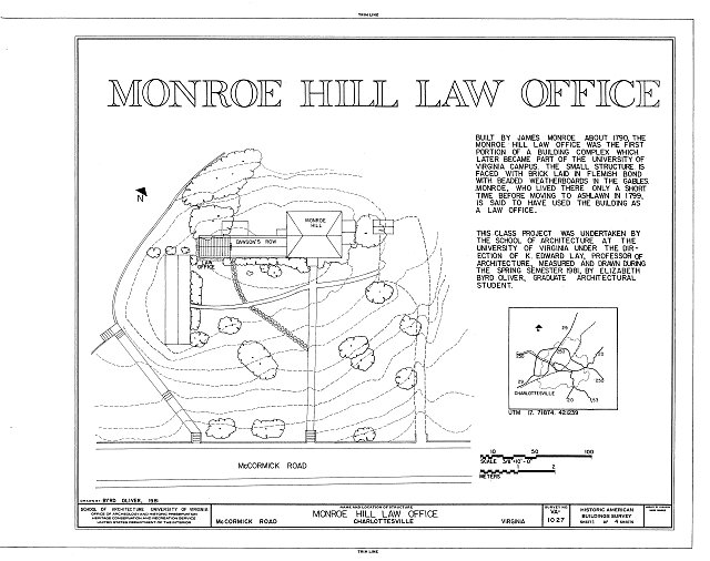 HABS VA,2-CHAR,8A- (sheet 1 of 4) - Monroe Hill Law Office, McCormick Road, University of Virginia, Charlottesville, Charlottesville, VA