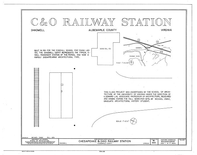 HABS VA,2-SHAD,1- (sheet 1 of 5) - Chesapeake & Ohio Railway Station, U.S. Route 250 & Chesapeake & Ohio Railroad, Shadwell, Albemarle County, VA
