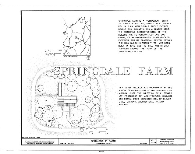 HABS VA,2-SIM.V,1- (sheet 1 of 7) - Springdale Farm, Buck Island Creek vicinity, Simeon, Albemarle County, VA