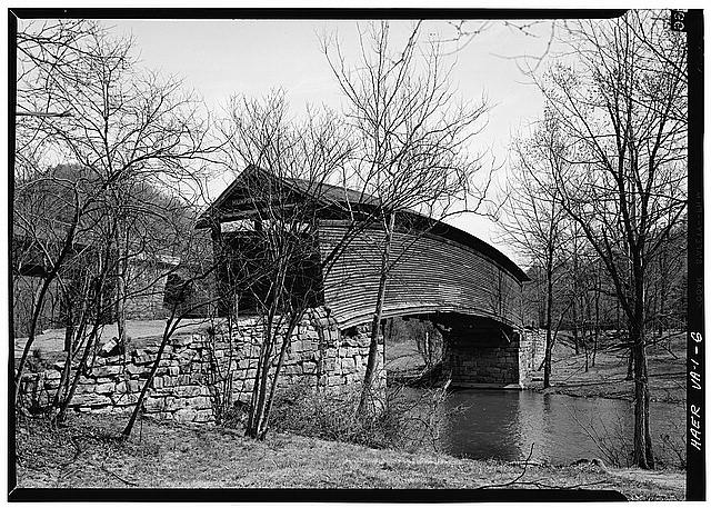 6.  General view from southwest of east side. - Humpback Covered Bridge, Humpback Bridge Wayside Park, spanning Dunlap Creek, Covington, Covington, VA