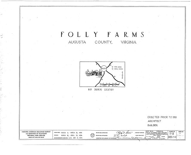 HABS VA,8-STAU.V,1- (sheet 0 of 10) - Folly Farm, Folly Mills Creek, Staunton, Staunton, VA