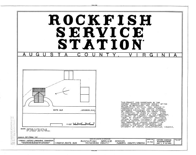 HABS VA,8-WANBO.V,2- (sheet 1 of 6) - Rockfish Service Station, Virginia Route 865, Waynesboro, Waynesboro, VA