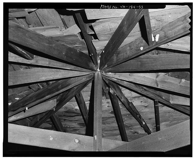 33.  KING POST AT CENTER OF ROOF STRUCTURE IN ATTIC - Camden, Rappahannock River, Port Royal, Caroline County, VA