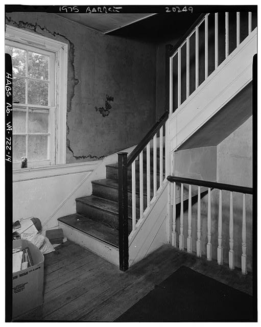 14.  INTERIOR, CENTRAL BLOCK, SECOND FLOOR, HALL, STAIRCASE TO ATTIC STORY - Sherwood Forest, State Route 5 vicinity, Charles City, Charles City, VA