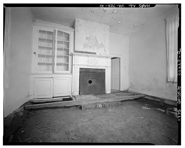21.  INTERIOR, WESTERN DEPENDENCY (LAW OFFICE), ROOM WITH TRIPARTITE MANTEL AND BUILT-IN CUPBOARD - Sherwood Forest, State Route 5 vicinity, Charles City, Charles City, VA