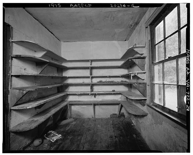 28.  INTERIOR, EASTERN HYPHEN, A THIRD ROOM, SHOWING WALL SHELVING - Sherwood Forest, State Route 5 vicinity, Charles City, Charles City, VA