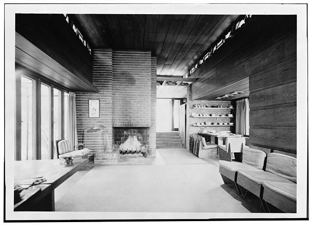 5.  Interior living room looking toward carport - Pope-Leighey House, 9000 Richmond Highway (moved from Falls Church, VA), Mount Vernon, Fairfax County, VA