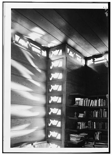 6.  Light effects living room - Pope-Leighey House, 9000 Richmond Highway (moved from Falls Church, VA), Mount Vernon, Fairfax County, VA