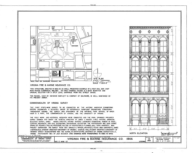 HABS VA,44-RICH,94- (sheet 1 of 4) - Virginia Fire & Marine Insurance Building, 1015 East Main Street, Richmond, Independent City, VA