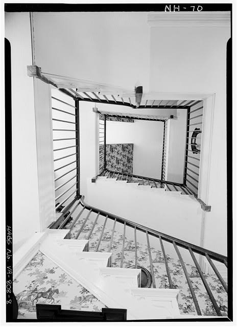 8.  INTERIOR, STAIRWELL, LOOKING DIRECTLY UP - Cessford, U.S. Route 13, Eastville, Northampton County, VA