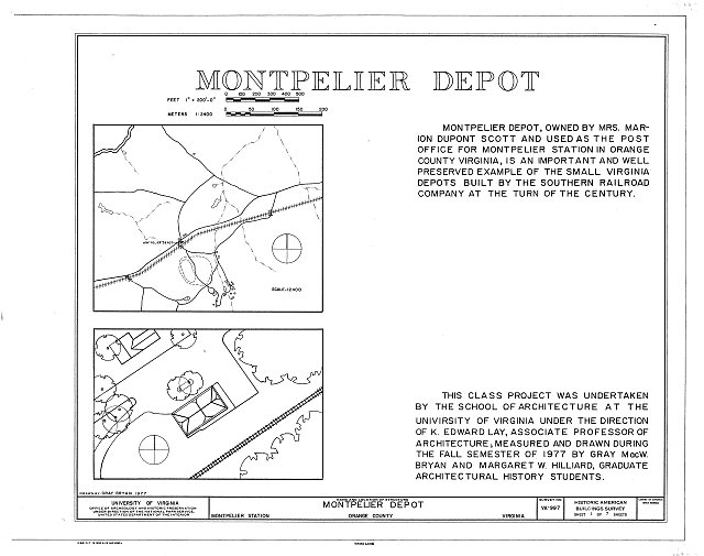 HABS VA,69-MONTS,1- (sheet 1 of 7) - Montpelier Depot, State Route 20 at Orange County Road 639, Montpelier Station, Orange County, VA