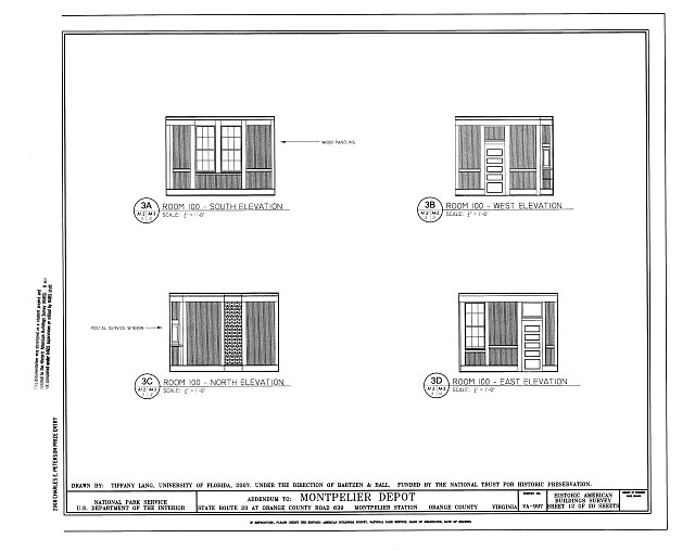 Elevations of Room 100 - Montpelier Depot, State Route 20 at Orange County Road 639, Montpelier Station, Orange County, VA