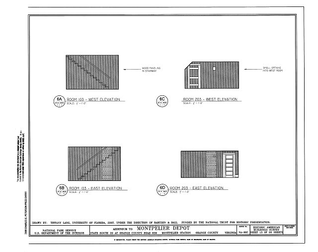 Elevations of Room 103 - Montpelier Depot, State Route 20 at Orange County Road 639, Montpelier Station, Orange County, VA