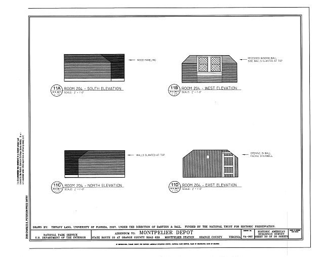 Elevations of Room 204 - Montpelier Depot, State Route 20 at Orange County Road 639, Montpelier Station, Orange County, VA