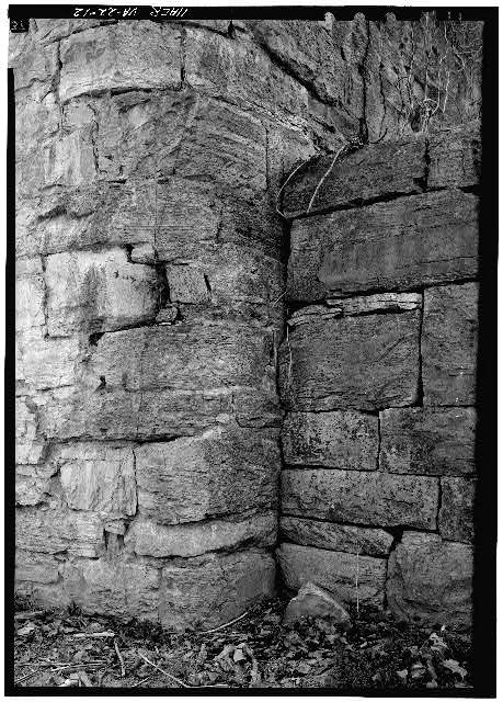 12.  DETAIL OF JOINT OF DAM FACE AND SOUTHWEST ABUTMENT - James River & Kanawha Canal, South River Dam & Lock, Maury River, Lexington, Lexington, VA
