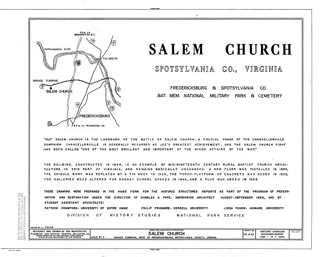 HABS VA,89-FRED.V,5- (sheet 1 of 10) - Salem Church, State Route 3, Fredericksburg, Fredericksburg, VA