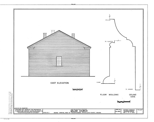 HABS VA,89-FRED.V,5- (sheet 5 of 10) - Salem Church, State Route 3, Fredericksburg, Fredericksburg, VA