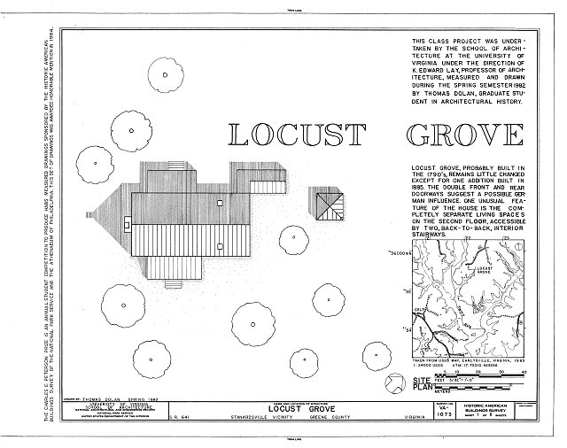 HABS VA,40-STANA.V,1- (sheet 1 of 8) - Locust Grove, State Route 641, Stanardsville, Greene County, VA