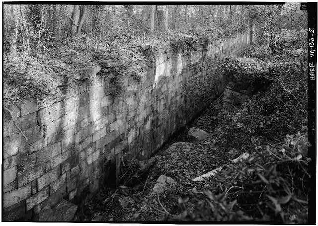 2.  East wall of Lock 2 looking SE from top of lock. 1971. - Potowmack Company: Great Falls Canal, Lock No. 2, Great Falls, Fairfax County, VA