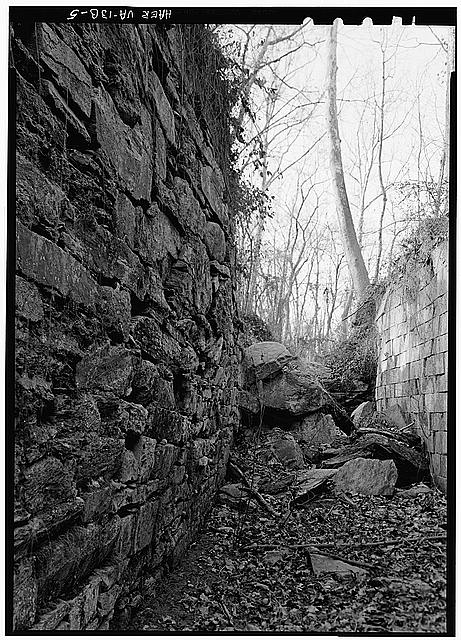 5.  West wall of Lock 2 looking N. 1971. - Potowmack Company: Great Falls Canal, Lock No. 2, Great Falls, Fairfax County, VA