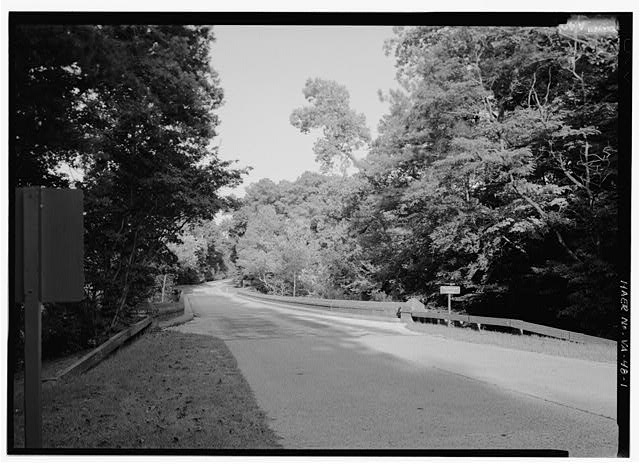 1.  YORKTOWN CREEK BRIDGE (HAER No. VA-48-Q), GENERAL VIEW FROM WEST ON ROADWAY. - Colonial Parkway, Yorktown to Jamestown Island, Yorktown, York County, VA