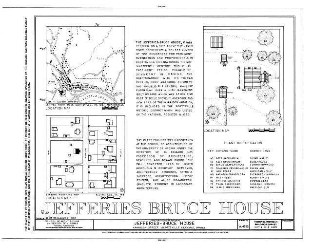 HABS VA,2-SCOTS,8- (sheet 1 of 8) - Jefferies-Bruce House, Harrison Street, Scottsville, Albemarle County, VA