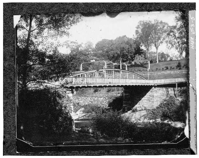 5.  Photocopy of photograph (Original in possession of Woodstock Historical Society) Date unknown. Reproduced by permission LOOKING NORTH - Elm Street Bridge, Spanning Ottauquechee River, Woodstock, Windsor County, VT
