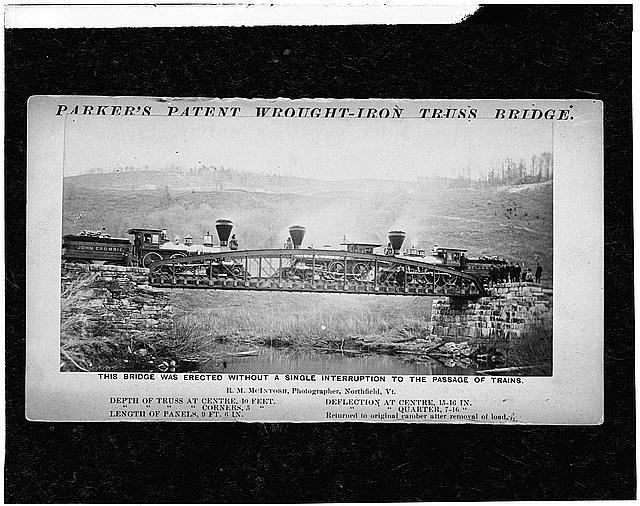 8.  Photocopy of photograph (Original in possesssion of the Division of Mechanical and Cicil Engineering, Smithsonian Institute) PARKER TRUSS BRIDGE IN NORTHFIELD, VT - Elm Street Bridge, Spanning Ottauquechee River, Woodstock, Windsor County, VT