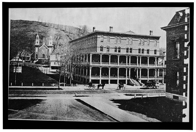 1.  Photocopy of photograph (original in the the possession of Roland Champoux, Montpelier, Vermont) Photographer unknown, ca. 1876-1880 Note: Negative measures 8' x 5 1/4', but is printed on 8' x 10' paper GENERAL VIEW OF SOUTH (FRONT) AND WEST FACADE (LEFT) BEFORE THE ADDITION OF MANSARD ROOF - Pavilion Hotel, State Street, Montpelier, Washington County, VT