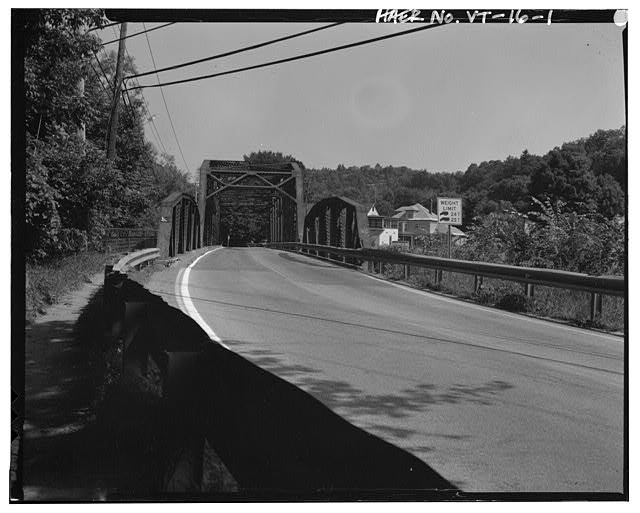 1.  View north, from road across bridge - Vermont Bridge No. 48, Spanning Winooski River at U.S. Route 2, Waterbury, Washington County, VT
