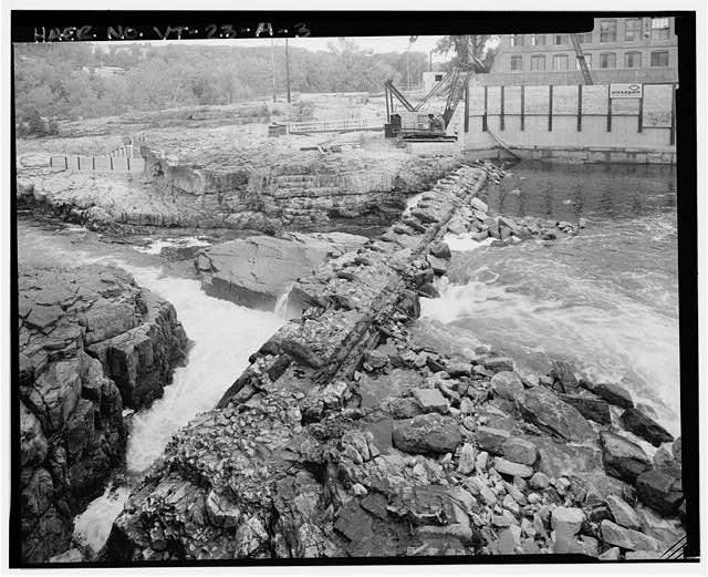 3.  VIEW WEST FROM EAST BANK, SHOWING TOP AND UPSTREAM SIDE OF DAM - Burlington Woolen Mill Company, Dam, Winooski River, West of Bridge carrying U.S. Route 2&7, Burlington, Chittenden County, VT